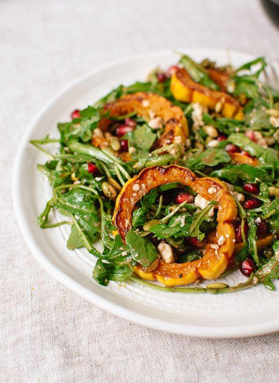 Roasted Delicata Squash, Pomegranate and Arugula Salad. Get the recipe at cookieandkate.com.