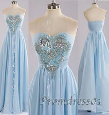 2015 cute blue sweetheart strapless beaded long prom dress for teens, ball gown,evening dress,winter formal #promdress #coniefox #2016prom
