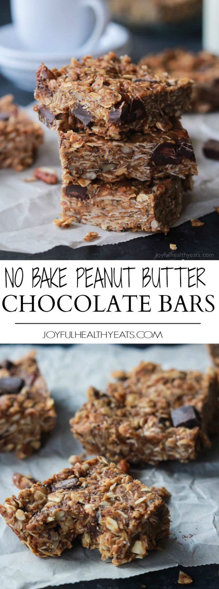 Breakfast never tasted so good with these No Bake Peanut Butter Chocolate Bars, done in 5 minutes! Filled with chocolate chunks, creamy peanut butter, chia seeds, and loads of other nutrients to fill you up! | joyfulhealthyeats.com #recipes