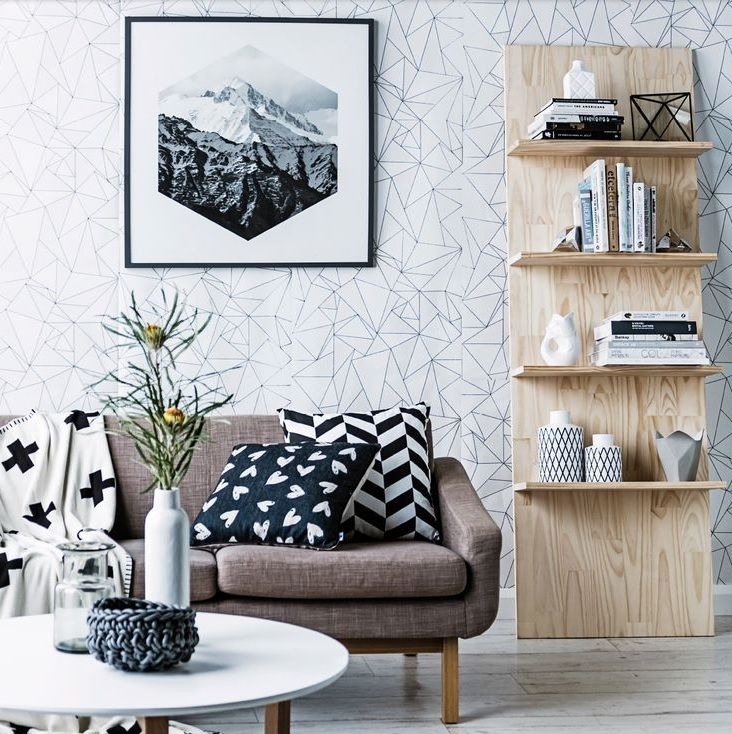 Geometric patterns on wallpaper and cushions