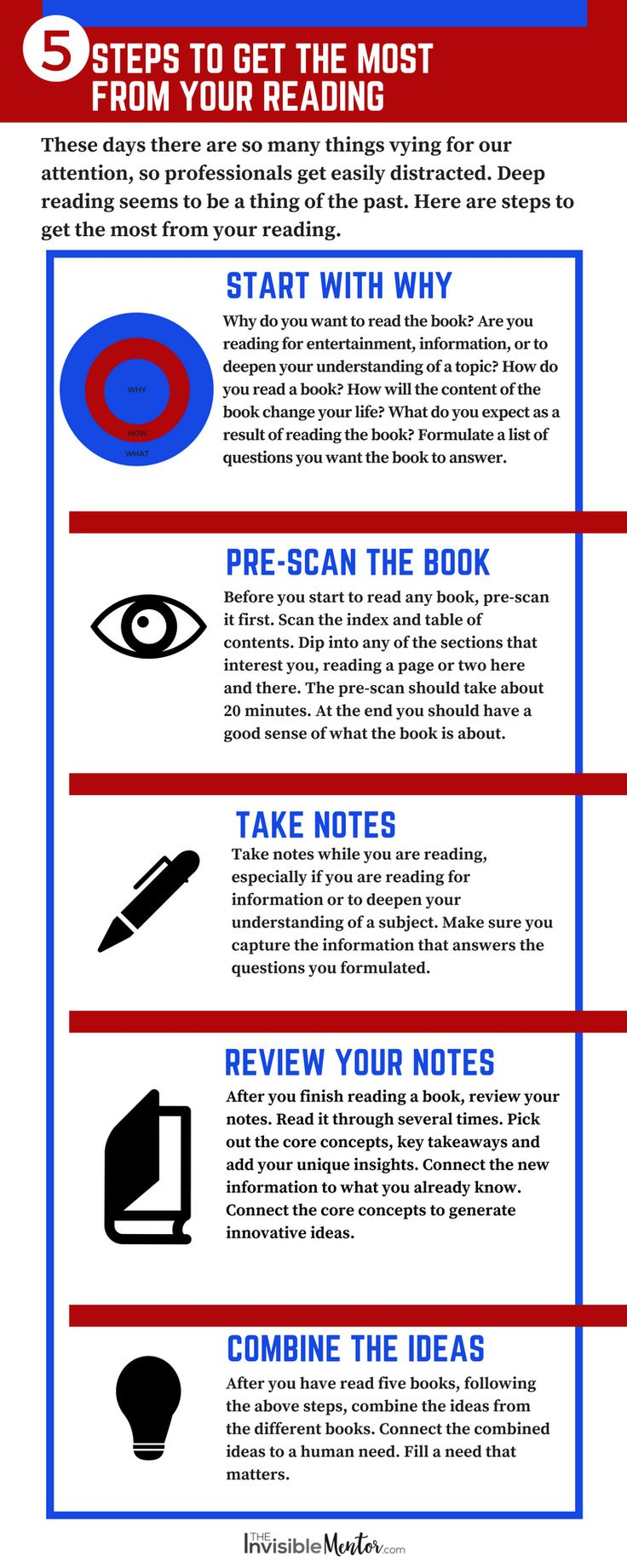 Are you getting the most from your reading? 5 Steps to Get the Most Out of Reading Books (infographic) walks you through the process. All the steps are important, but I want professionals to get a return on their reading investment, so they will read more books. The profit is in the ideas you discover on the pages. Click through to start profiting from the books you read. The Mark Cubans of this world do this, so why not you?