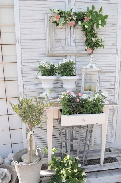Garden Table with Shutter & Frame, Garden Urnes, Galvanized Container, Topiary