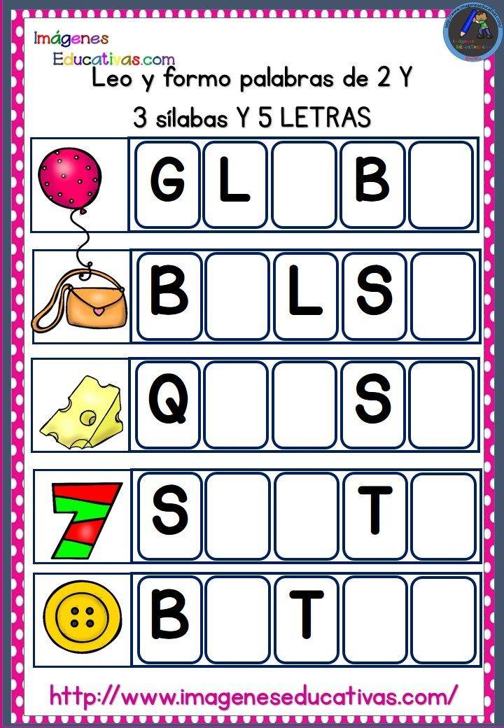 Leo y formo palabras con cinco letras con 2 y 3 sílabas material imprimible - Imagenes Educativas