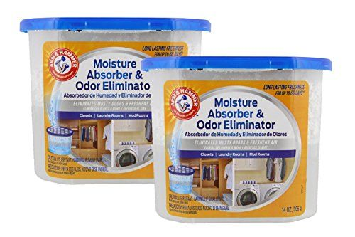 Arm & Hammer Moisture Absorber & Odor Eliminator 14oz Tub, 2 Pack – Eliminates Musty Odors & Freshens Air for Closets, Laundry rooms, Mud…