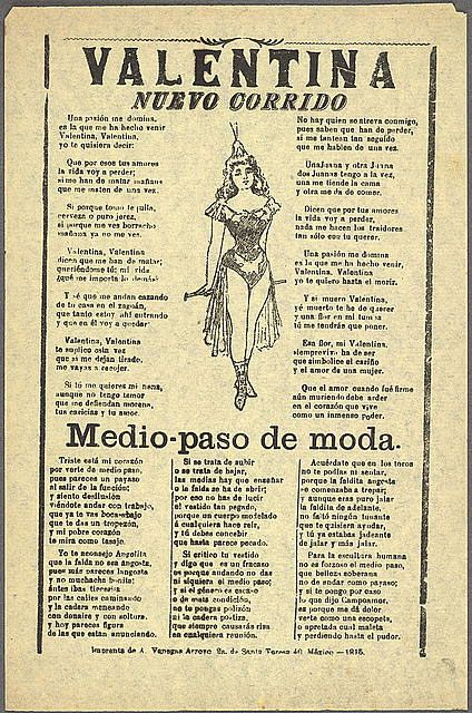 """Song sheet of the corrido """"Valentina"""", Mexico, 1915"""