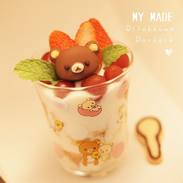 My Made Rilakkuma Strawberry Parfait Cafe at home for long holiday in Our Thai New Year Celebration IG:@songsweetsong ,@sweetenupcafe