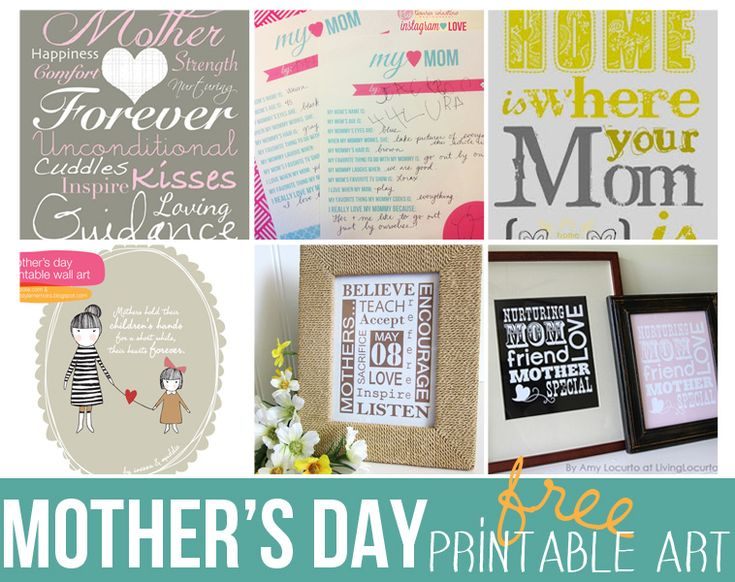 Free Printables to create great Mother's day gifts.