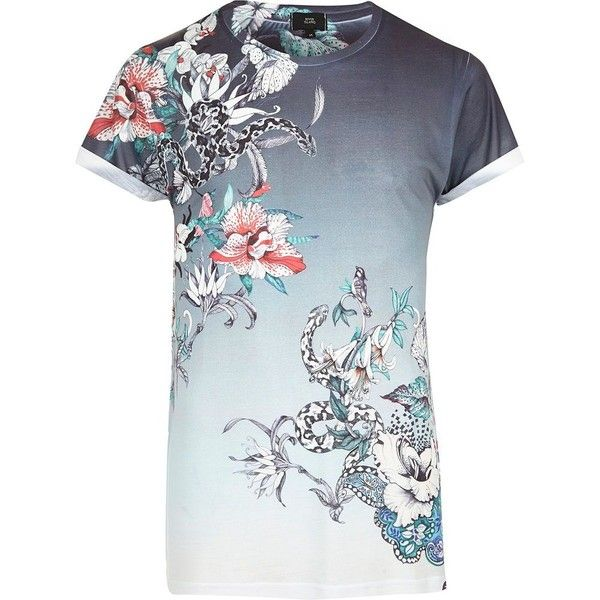 River Island White fade floral snake print T-shirt ($23) ❤ liked on Polyvore featuring men's fashion, men's clothing, men's shirts, men's t-shirts, mens floral shirts, mens short sleeve t shirts, mens slim fit shirts, mens slim shirts and mens crew neck t shirts