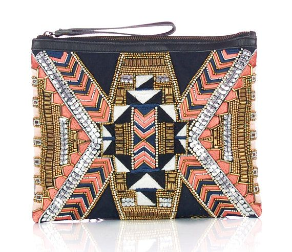 found this on Etsy.. I LOVE IT!! Aztec Hand embroidered Clutch/Case/Sleeve for iPad by ShaunDesign, $39.15