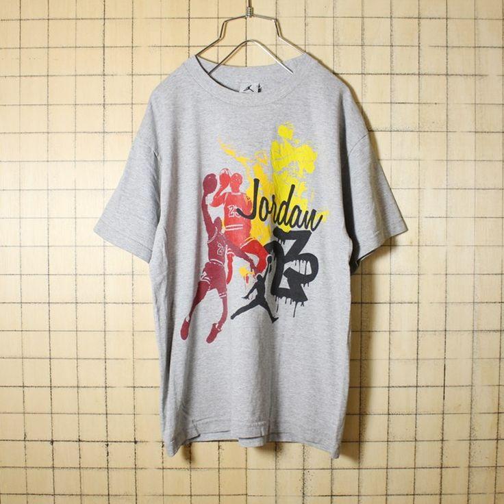 古着 霜降り 杢 グレー プリント Tシャツ 半袖 Jordan 23 シルエット ジャンプマン メンズM相当 アメリカ古着