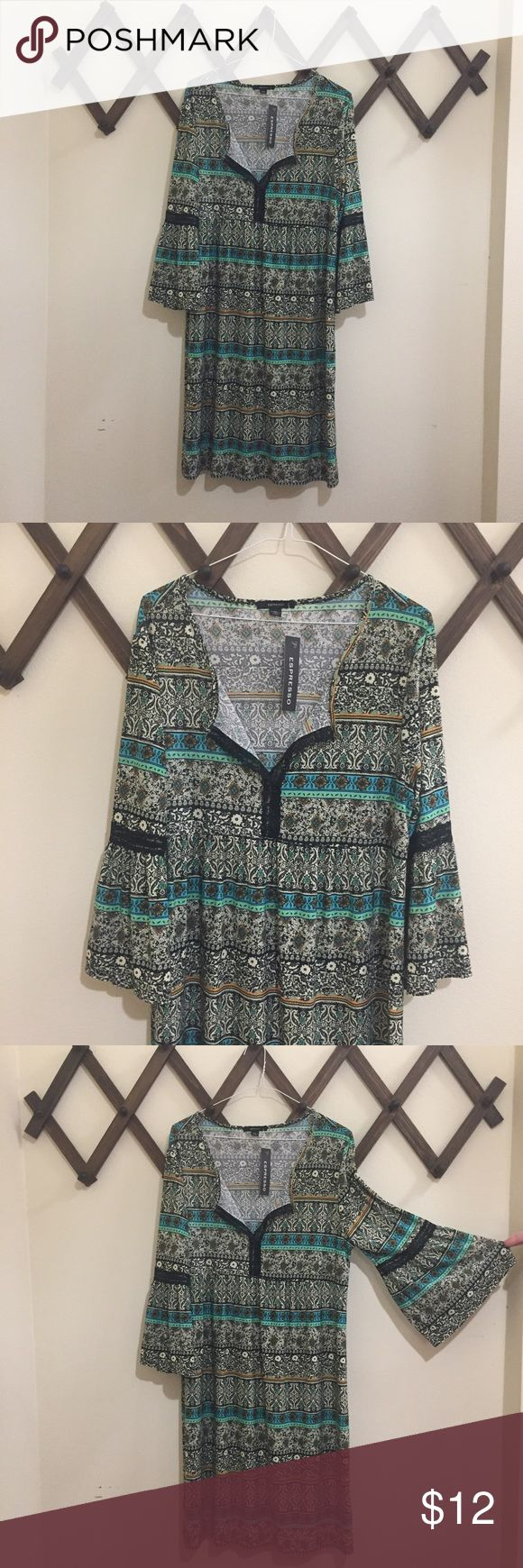 NWT Boho Bell Sleeve Lace Patterned Mini Dress NWT H&M Floral Sleeveless Button Down Mini Dress. Flimsy stretchy material. Lace details on the sleeves and neckline. Brand new never worn ❗️does have a hole that I never noticed until recently but can easily be fixed❗️ ❗️ no trades ❗️black and cream with green accents with black lace. Espresso Dresses Mini