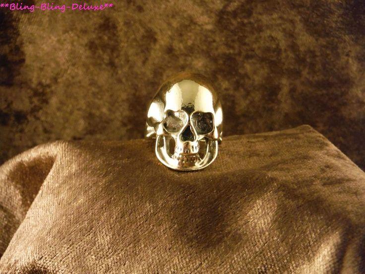 Biker Ring Schädel  24 Karat Vergoldet Skull Punk Edelstahl Gold Gothik Rocker