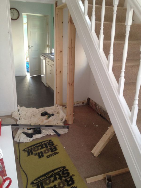 Studding Out An Area Under The Stairs For A Downstairs Toilet With Bathroom Installation In