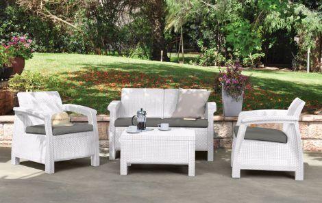Curver műrattan kerti bútor (Corfu szett, fehér)