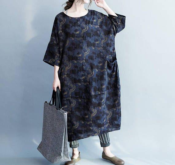 las mujeres de algodón y lino de gran tamaño vestido suelto
