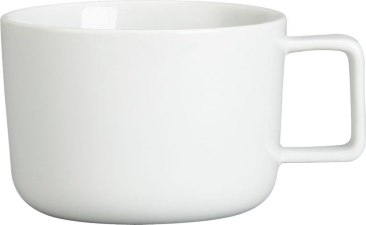 demi brew.  Low profile sips coffee, tea, even soup from full bowl of brite white porcelain.  Gripped with neat square handle, clean modern design pairs with neutral, solid and patterned dinnerware. HandmadeGlazed porcelainDishwasher- and microwave-safeMade in China.