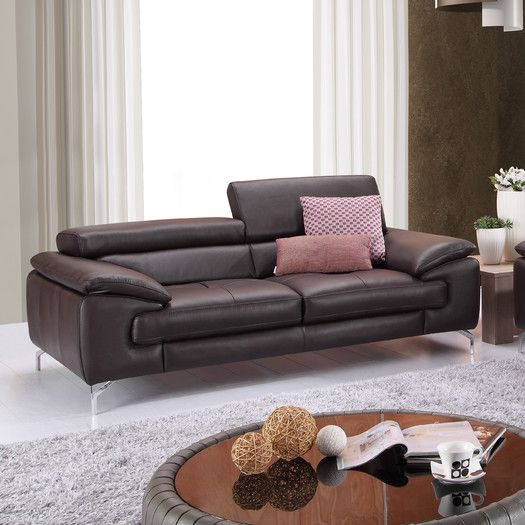 ju0026m furniture italian leather sofa allmodern - Italian Leather Sofa