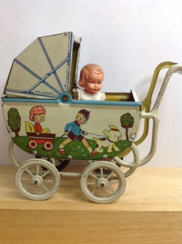 Antique Early German Tin Lithographe Toy BABY DOLL CARRIAGE BUGGY PRAM Miniature