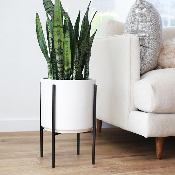 Large Mid Century Modern Planter And Metal Plant Stand 12