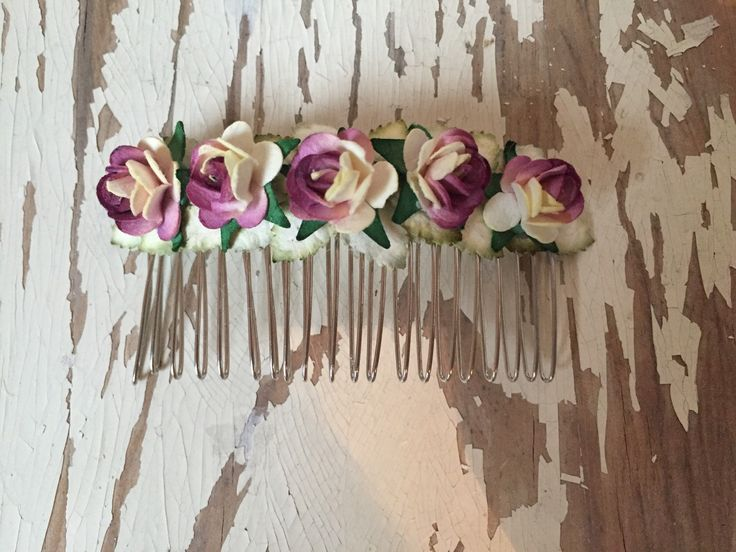 Purple/Cream Paper Flower Roses Hair Comb by SunshinePieCreations on Etsy https://www.etsy.com/listing/262592867/purplecream-paper-flower-roses-hair-comb