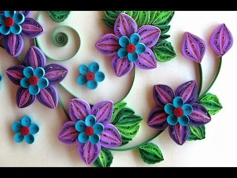 New : Art & Craft How to make Beautiful Quilling Blue/Pink Flower design -Paper Art Quilling - YouTube