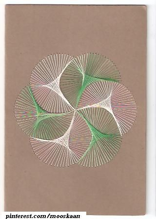 String Art on paper Abstract geometric-spirographic design, using silk floss. From a book...... (Series D-7)