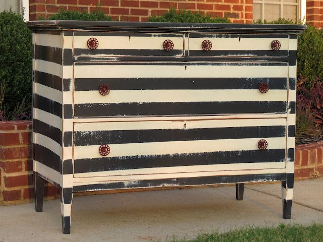 Black & white Striped Dresser