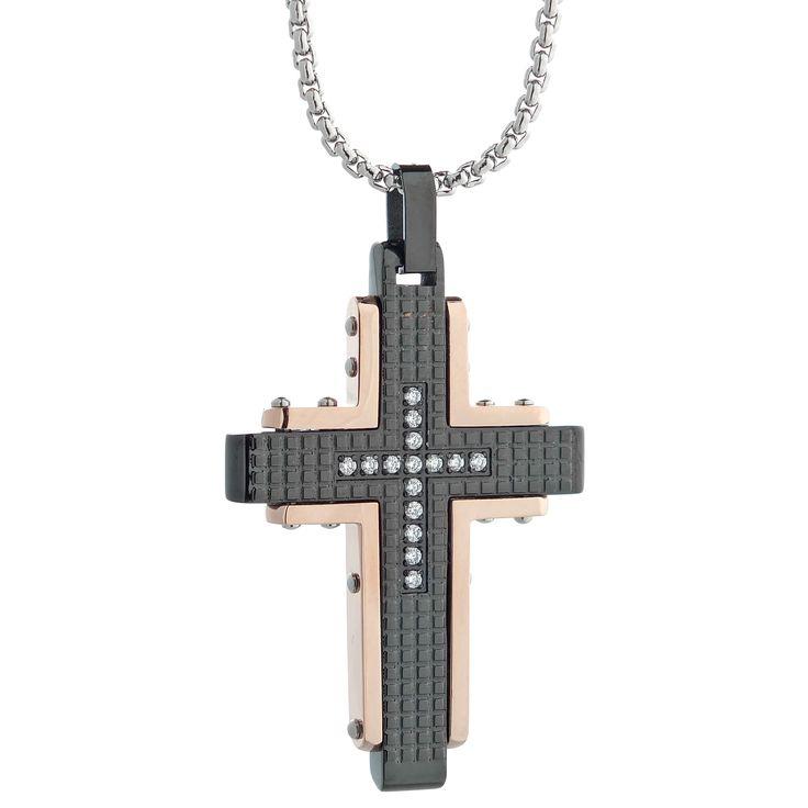Fine Jewelry Mens Black Cubic Zirconia Stainless Steel Cross Pendant DZpwwd