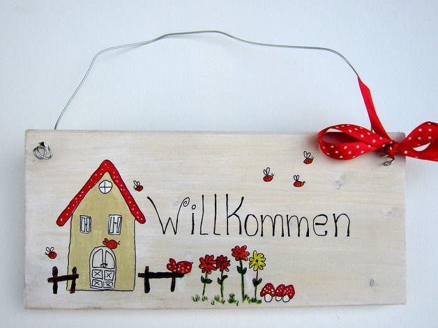 Tür- & Namensschilder - Türschild Willkommen, Haustürschild Holz - ein Designerstück von Sonja-Eckhardt bei DaWanda