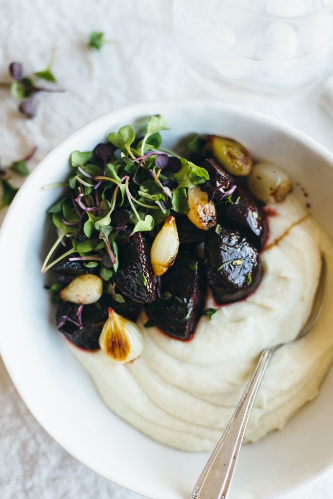 CELERY ROOT PUREE WITH BALSAMIC ROASTED BEETS