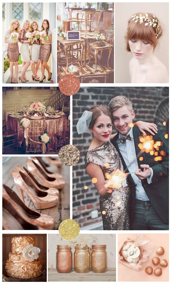 Cool, interesting color scheme. copper bronze and gold wedding inspiration