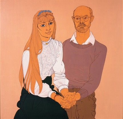 Alasdair Gray: Portrait of Scott Pearson and Angela 1995 framed ink with aqua tint on brown paper 59 x 60 cm
