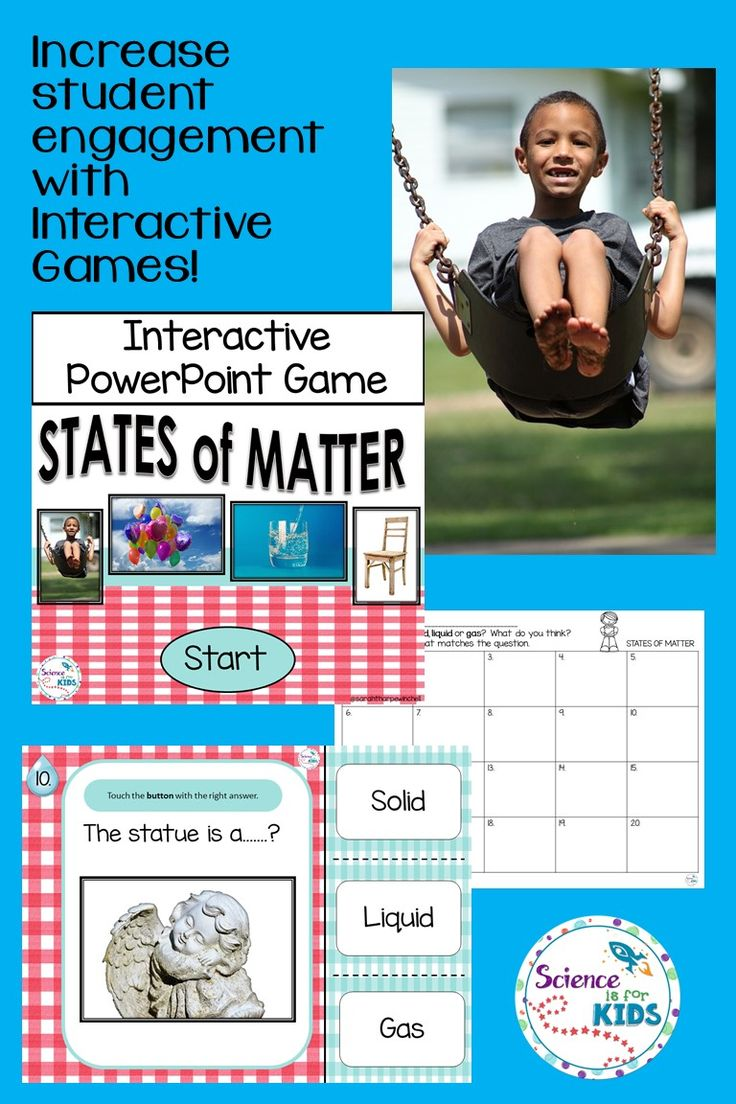 States of Matter Interactive Game. Use with Powerpoint, interactive whiteboard and on personal devices. Students identify the state of matter in the photograph. Real examples create connections for students.