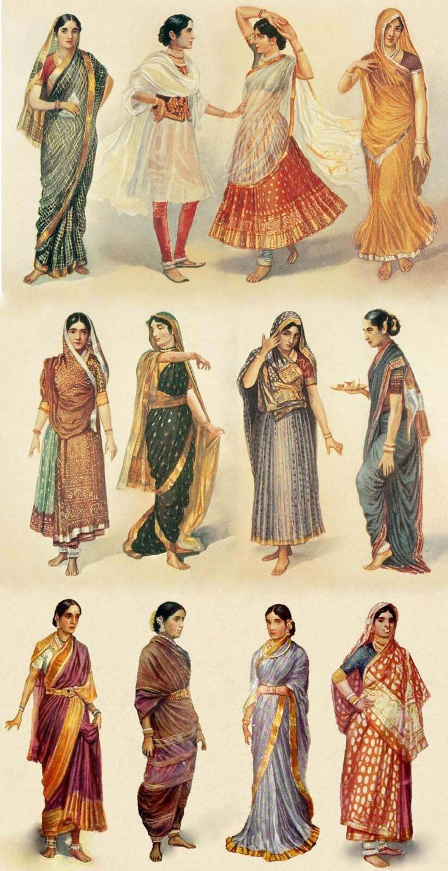 1928年、インド人画家M. V. Dhurandharによる水彩画。インド女性の民族衣装は長い布を巻き付けるサリーが代表的。生地を替えれば様々な気候に対応でき、締めつけ感がなく動きやすい。巻き方は地域や用途によって様々。