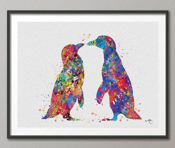 Penguin Watercolor Art Print Wedding Gift Love door CocoMilla