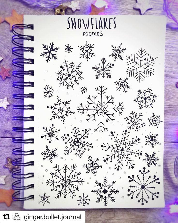 """Bullet Journal auf Instagram: """"Der Dezember ist da und Schneeflocken sind überall. Ich liebe diese Doodle-Seite von Gina de Villiers.bullet.journa …"""