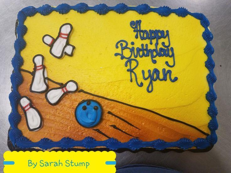 Bowling birthday sheet cake - buttercream by Sarah Stump