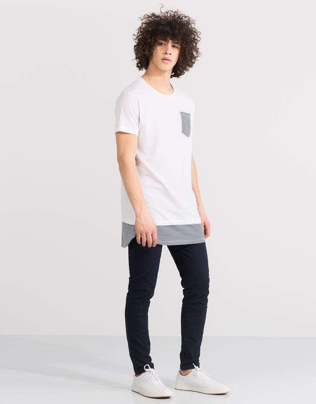 Pull&Bear - hombre - camisetas - camiseta panel inferior bolsillo - blanco - 05239570-V2016