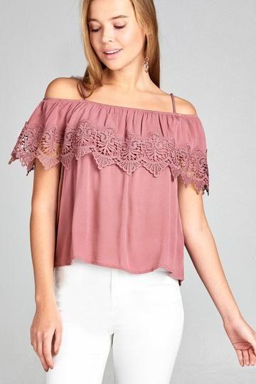 24bb587585f3f Ladies fashion open shoulder flounce w crochet lace crinkle gauze woven top