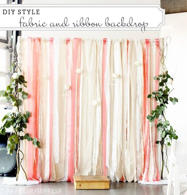 DIY Ribbon Backdrop Tutorial... This is a great idea for the backdrop of a cake table!! The rod could hang from the ceiling to cover any unwanted background behind the cake or food table.