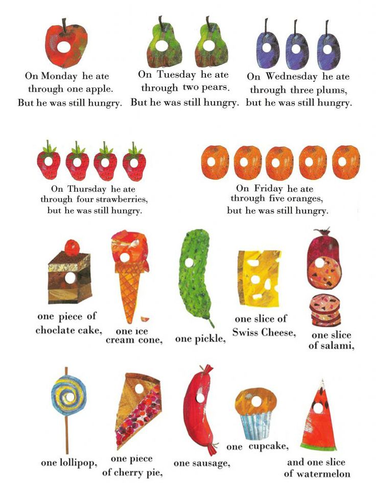 Very Hungry Caterpillar food cards #VeryHungryCaterpillar #PenguinKids