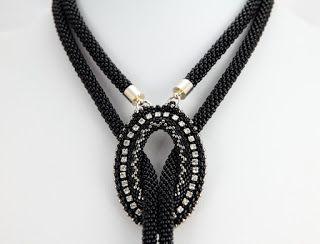 Nitecznik lariat beading crystals necklace nitecznik.blogspot.com