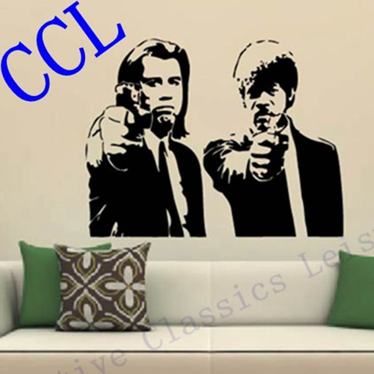 Free Shipping Banksy Jules and Vincent Pulp Fiction Movie Wall Art Decal Decor Mural Sticker Vinyl Poster - free shipping worldwide