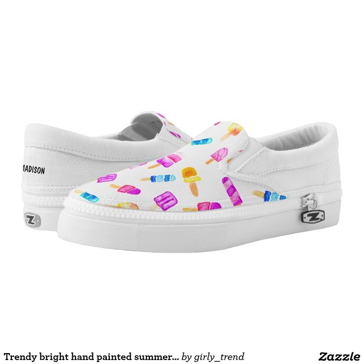 Trendy bright hand painted summer popsicle pattern printed shoes