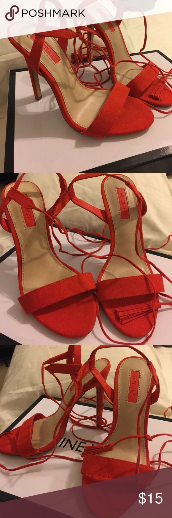 Red orange Heels Beautiful red orange strappy heels Forever 21 Shoes Heels
