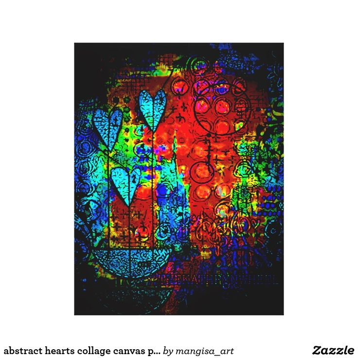 abstract hearts collage canvas print