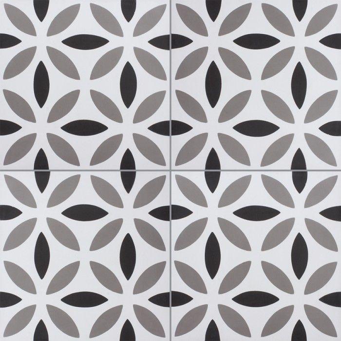 Carreau De Ciment Colore Motif Blanc Gris Et Noir Noa B 10 01 27