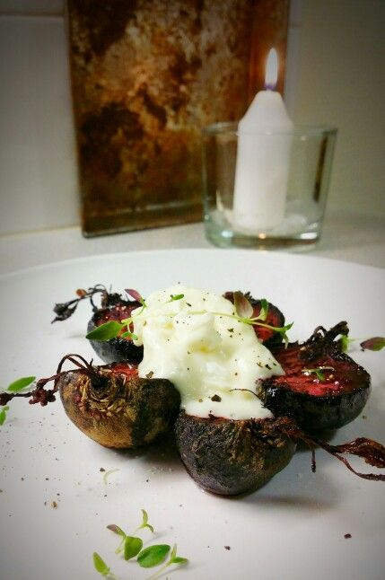 Roasted beets with goat cheese mousse.