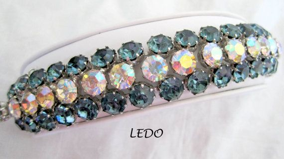 Vintage Signed Ledo Wide Rhinestone Bracelet by VintagObsessions, $160.00