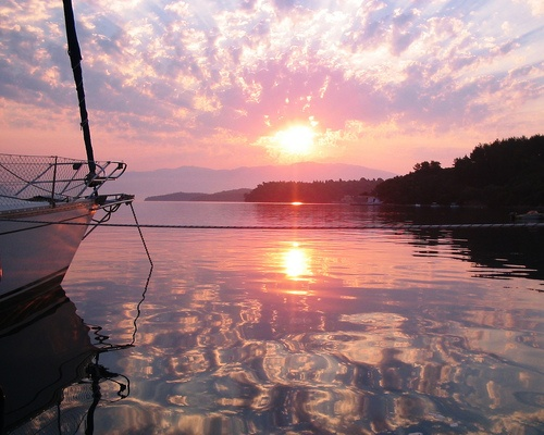 allthingsgreece: Sunrise at Nidri, Lefkada (by mistytoo)